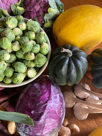 Brussels sprouts, purple cauliflower, winter squash